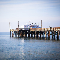 Photo of Balboa Pier and Ruby's Diner on Balboa Peninsula in Newport Beach California. Newport Beach is a coastal community along the Pacific Ocean in Orange County Southern California.