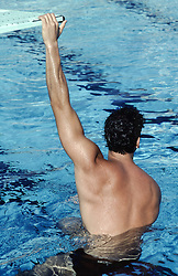 back of a muscular man in a swimming pool holding a diving board