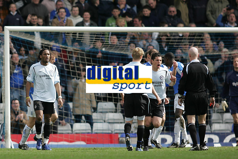Photo: Lee Earle.<br /> Birmingham City v Chelsea. The Barclays Premiership. 01/04/2006. The Chelsea players look shocked after the 'goal' was dissalowed.