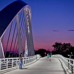 The sun sets on the main street bridge in Columbus, Ohio on July 30th, 2012 (Christina Paolucci, photographer).