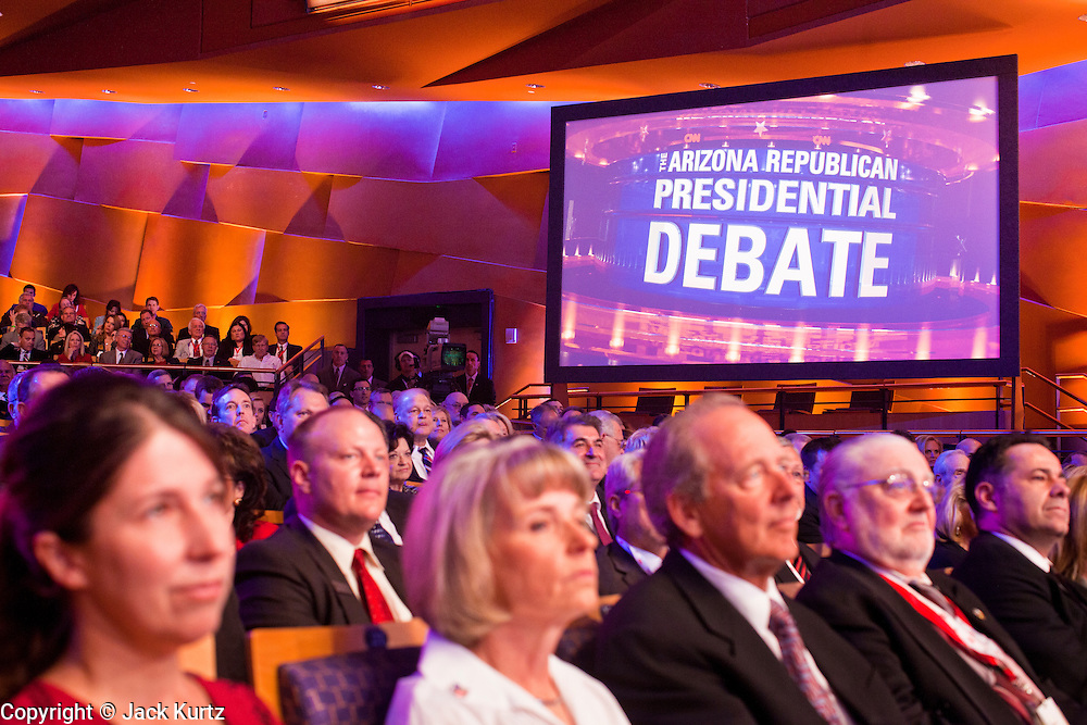 "22 FEBRUARY 2012 - MESA, AZ:      The crowd at the Arizona Republican Presidential Debate in the Mesa Arts Center in Mesa, AZ, Wednesday. It is the last debate before the Michigan and Arizona Republican primaries on Feb. 28 and ""Super Tuesday"" on March 6.      PHOTO BY JACK KURTZ"