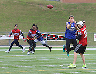 Washington Redskins Quarterback Kirk Cousins attempts a pass while being rushed by UFC star and Katy's favorite son, Sage Northcutt during game action, Super Bowl 51 - 16th Annual Celebrity Flag Football Challenge, Rhodes Stadium,  4 Feb 2017, Katy TX.  Red Team Captain Kirk Cousins would lose for the 2nd straight year to Doug Flutie's Blue team by a final score of 40-35.