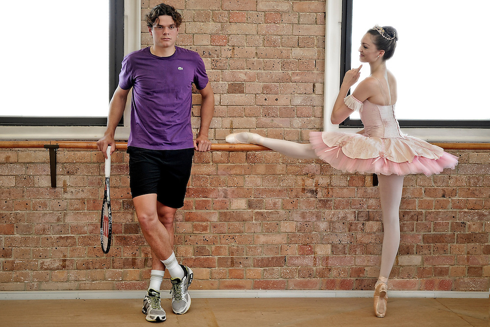 BRISBANE, AUSTRALIA - DECEMBER 30:  Milos Raonic poses with dancer Clare Morehen of the Queensland Ballet at Thomas Dixon Centre on December 30, 2012 in Brisbane, Australia.  (Photo by Matt Roberts/Getty Images) *** Local Caption *** Milos Raonic; Clare Morehen