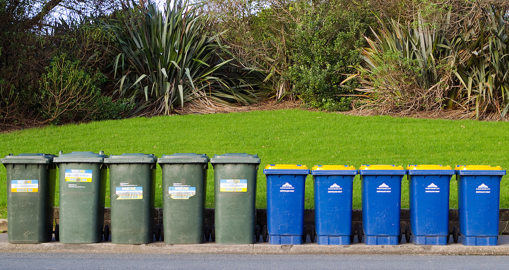 Domestic refuse bins, Auckland, New Zealand, Monday, July 11, 2011.   Credit:SNPA / David Rowland