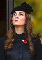 LONDON - UK - 10-NOV-2013: Queen Elizabeth, HRH The Duke of Edinburgh and members of the British Royal Family gather at the Cenotaph in London to mark the annual Remembrance Sunday Service.<br /> Prince WIlliam, Kate, The Duchess of Cambridge, Prince Harry, Prince Edward, Sophie, countess of Wessex and Princess Anne all were in Attendance.<br /> Photograph- Ian Jones