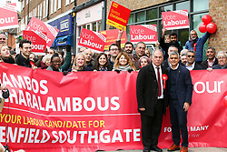 © Licensed to London News Pictures. 09/11/2019. London, UK. Mayor of London SADIQ KHAN joins Labour Party MP for Enfield Southgate BAMBOS CHARALAMBOUS, party members and supporters campaigning for the general election in Palmers Green, Enfield, north London. Photo credit: Dinendra Haria/LNP