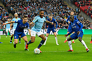 Raheem Sterling (7) of Manchester City on the attack during the Carabao Cup Final match between Chelsea and Manchester City at Wembley Stadium, London, England on 24 February 2019.