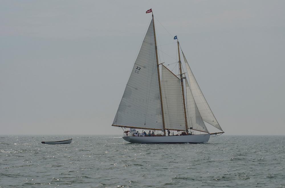 The Brilliant, a schooner from Mystic, Connecticut operated by Mystic Seaport, under sail as the Parade of Ships prepares to head out of Niantic Bay toward New London, Connecticut during OpSail 2012 CT.