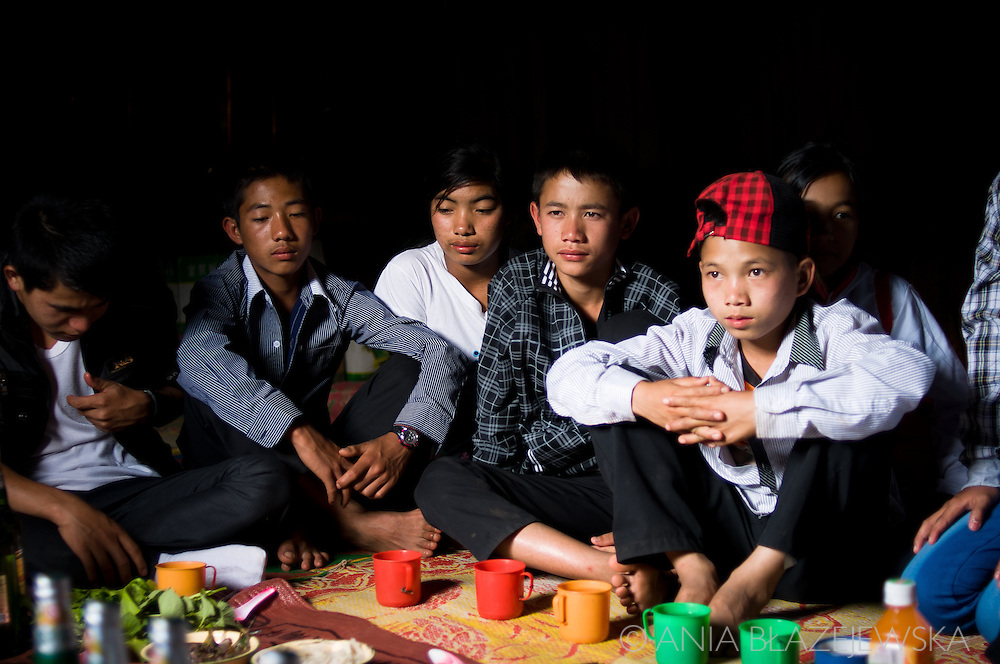 Laos, Muang Sing. young booys during a party at the Akha house.