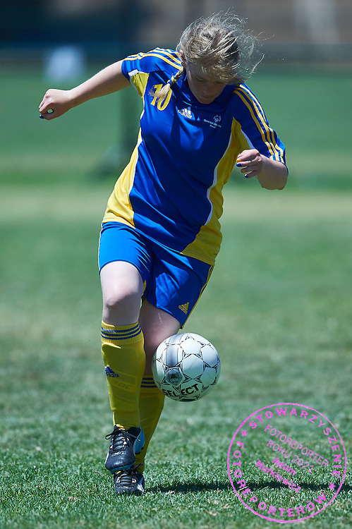 SO Sweden athlete controls the ball while football women match 7-a-side during fourth day of the Special Olympics World Games Los Angeles 2015 on July 28, 2015 at Balboa Sports Centre in Los Angeles, USA.<br /> USA, Los Angeles, July 28, 2015<br /> <br /> Picture also available in RAW (NEF) or TIFF format on special request.<br /> <br /> For editorial use only. Any commercial or promotional use requires permission.<br /> <br /> Adam Nurkiewicz declares that he has no rights to the image of people at the photographs of his authorship.<br /> <br /> Mandatory credit:<br /> Photo by &copy; Adam Nurkiewicz / Mediasport