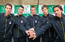 Janez Semrajc, Mike Urbanija, Grega Zemlja, Blaz Kavcic and Blaz Trupej of Slovenia  during draw ceremony of Davis cup - Slovenia vs Portugal on January 30, 2014 in City Hall Kranj, Slovenia. Photo by Vid Ponikvar / Sportida