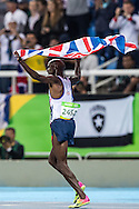 Mo Farah of Great Britain takes Gold to retain his title in the Men's 10,000m on day eight of the XXXI 2016 Olympic Summer Games in Rio de Janeiro, Brazil.<br /> Picture by EXPA Pictures/Focus Images Ltd 07814482222<br /> 13/08/2016<br /> *** UK & IRELAND ONLY ***<br /> <br /> EXPA-GRO-160814-5308.jpg