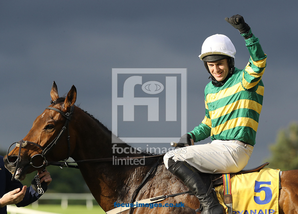 Jody McGarvey on Great Field celebrates winning the Ryanair Novice 'chase on day three of the 2017 Festival at Punchestown Racecourse, Kildare, Eire.<br /> Picture by Kristian Kane/Focus Images Ltd +44 7814 482222<br /> 27/04/2017