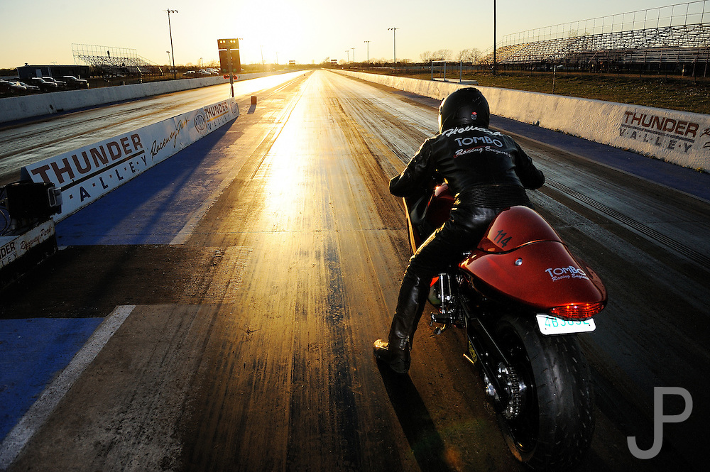 Tombo Racing Suzuki Hyabusa owned & ridden by Tim Howard at Thunder Valley Raceway drag strip in Noble, Oklahoma.  This bike regularly runs in the mid-8 seconds in the quarter mile.