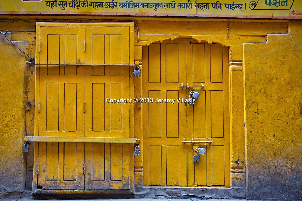 Yellow Door at Thamel in Kathmandu.
