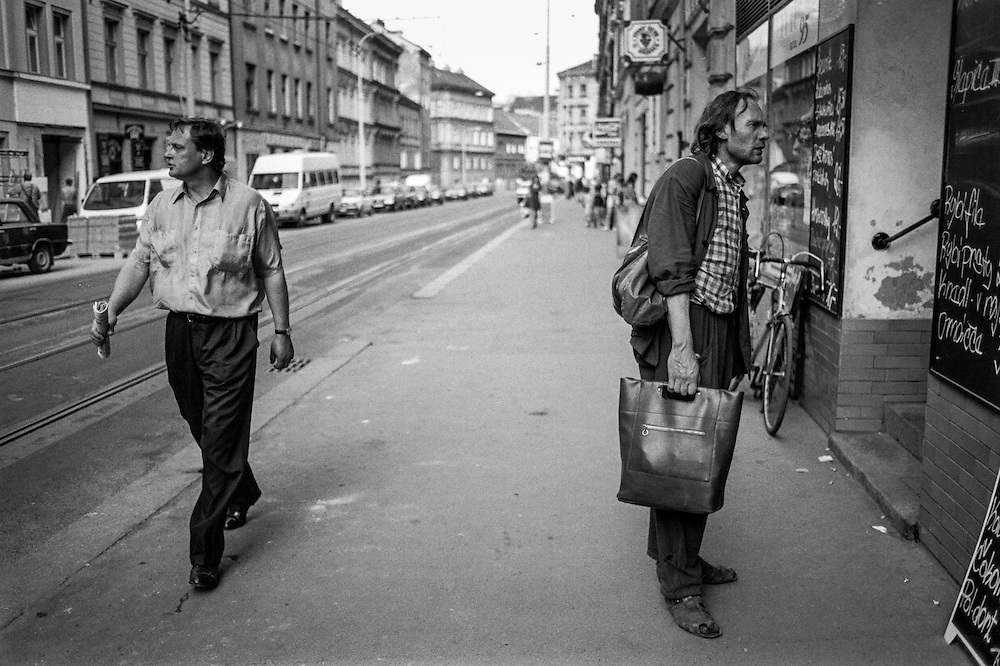 Residents at Konevova street in Zizkov.