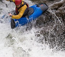 "An unidentified whitewater kayaker powers their kayak through the rapids at ""Sweet's Falls"" on the Gauley River during American Whitewater's Gauley Fest weekend. The upper Gauley, located in the Gauley River National Recreation Area is considered one of premier whitewater rivers in the country."