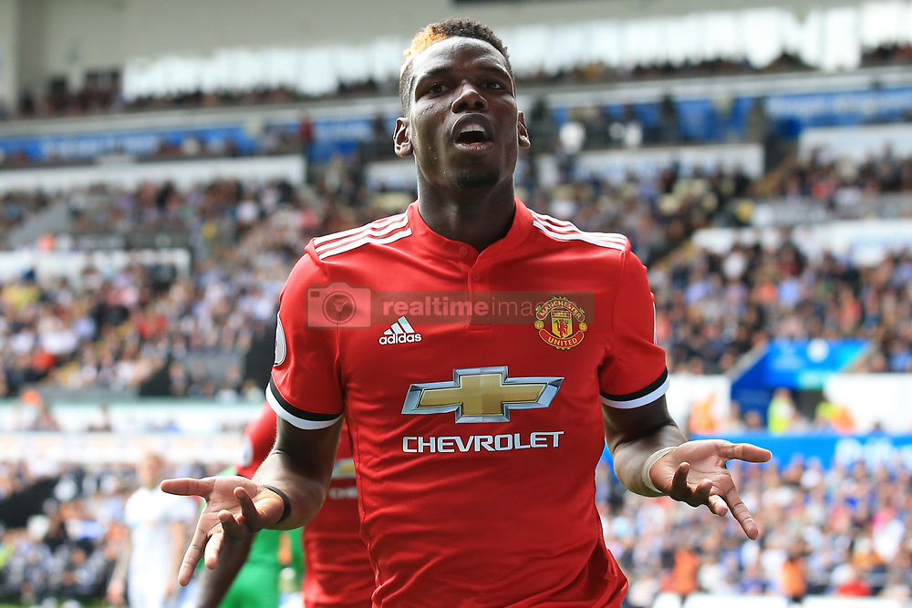19 August 2017 -  Premier League - Swansea City v Manchester United - Paul Pogba of Manchester United celebrates scoring their 3rd goal - Photo: Marc Atkins/Offside