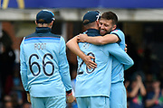 Wicket - Mark Wood of England celebrates taking the wicket of Ross Taylor of New Zealand lbw during the ICC Cricket World Cup 2019 Final match between New Zealand and England at Lord's Cricket Ground, St John's Wood, United Kingdom on 14 July 2019.