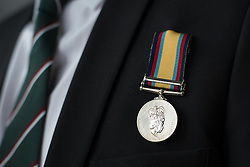 © Licensed to London News Pictures. 27/02/2016. <br /> <br /> Pictured: An Operation Granby Service Medal.<br /> <br /> A service has been held at The National Memorial Arboretum on Saturday 27th February 2016 to commemorate The Stafford Regiments participation in Operation Granby, a British military operation held in 1991 during the first Gulf War in which soldiers helped liberate Kuwait from Iraqi occupation ordered by Saddam Hussain.    <br /> <br /> Two Staffordshire Regiment soldiers, Private Carl Moult and Private Shaun Taylor were killed in Operation Granby.<br /> <br />  Photo credit should read Max Bryan/LNP