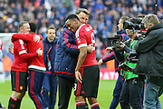 Manchester United Manager Louis van Gaal congratulates Anthony Martial of Manchester United after the The FA Cup semi final match between Everton and Manchester United at Wembley Stadium, London, England on 23 April 2016. Photo by Phil Duncan.