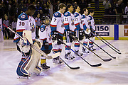 KELOWNA, CANADA - JANUARY 27:  Pepsi Player of the Game in the lineup at the Kelowna Rockets game on January 27, 2017 at Prospera Place in Kelowna, British Columbia, Canada.  (Photo By Cindy Rogers/Nyasa Photography,  *** Local Caption *** Michael Herringer #30 of the Kelowna Rockets, Lucas Johansen #7 of the Kelowna Rockets, Devante Stephens #21 of the Kelowna Rockets, Calvin Thurkauf #27 of the Kelowna Rockets, Reid Gardiner #23 of the Kelowna Rockets, Nick Merkley #10 of the Kelowna Rockets