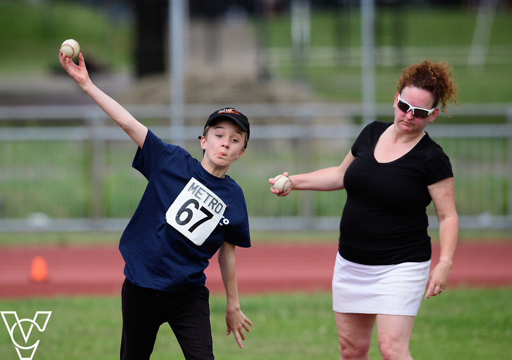 Metro Blind Sport's 2017 Athletics Open held at Mile End Stadium.  Ball throw.  Competitor #67<br /> <br /> Picture: Chris Vaughan Photography for Metro Blind Sport<br /> Date: June 17, 2017