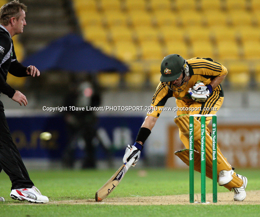 Australian batsman Michael Hussey makes his ground.<br /> Fifth Chappell-Hadlee Trophy one-day international cricket match - New Zealand v Australia at Westpac Stadium, Wellington. Saturday, 13 March 2010. Photo: Dave Lintott/PHOTOSPORT