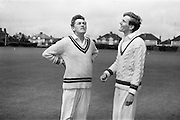 22/05/1964<br /> 05/22/1964<br /> 22 May 1964<br /> Interprovincial Cricket : Leinster v Munster at Old Belvedere Ground, Dublin. Rival Captains, I.W. Lewis (Munster) left and D. Pratt (Leinster) toss-up before the match.