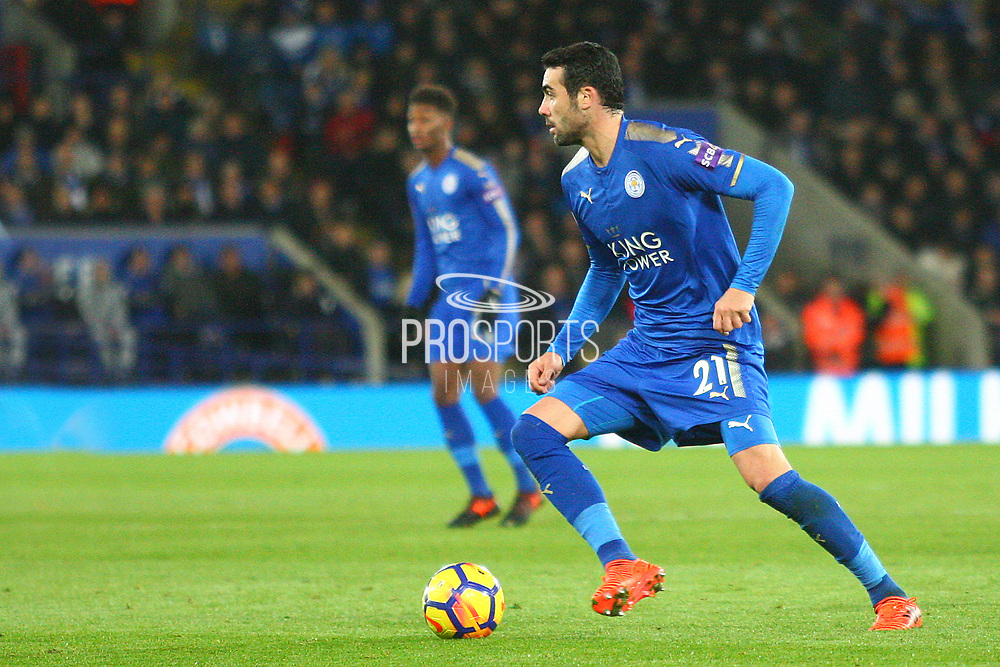 Leicester City midfielder Vicente Iborra (21) during the Premier League match between Leicester City and Manchester City at the King Power Stadium, Leicester, England on 18 November 2017. Photo by John Potts.