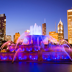 Chicago skyline at night with Buckingham Fountain. Officially named the Clarence F. Buckingham Memorial Fountain, the fountain is a very popular attraction located in Grant Park in downtown Chicago.
