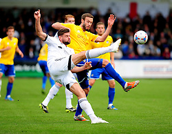 AFC Telford's Adam Farrell is challenged by Bristol Rovers' Andy Monkhouse - Photo mandatory by-line: Neil Brookman/JMP - Mobile: 07966 386802 - 01/11/2014 - SPORT - Football - Telford - New Bucks Head Stadium - AFC Telford v Bristol Rovers - Vanarama Football Conference