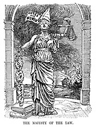 The Majesty of the Law. (Justice is blindfolded and her sword is wrapped in a 'Hunger Strike' cloth as buildings burn in the background)