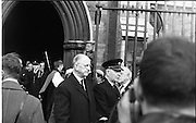 The State Funeral of Sir Alfred Chester Beatty. President Eamon de Valera after the funeral..29.01.1968