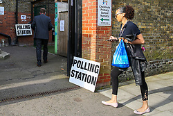 © Licensed to London News Pictures. 23/05/2019. London, UK. Voters arrive at a polling station in Haringey, north London to cast a vote in the European Parliament elections. Photo credit: Dinendra Haria/LNP
