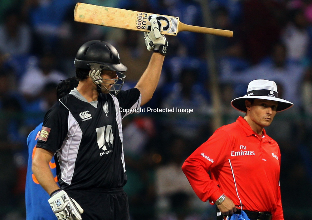 New Zealand batsman James Franklin celebrates half century against India during the 4th ODI match India vs New Zealand Played at M Chinnaswamy Stadium, Bangalore, 7 December 2010 - day/night (50-over match)