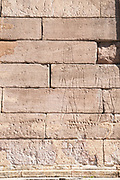 Egyptian Hieroglyphics on the outer wall of the Templo de Debod (Debod Temple), An Egyptian temple relocated to Parque del Oeste, Madrid, Spain