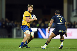 Josh McNally of Bath Rugby in possession - Mandatory byline: Patrick Khachfe/JMP - 07966 386802 - 15/12/2019 - RUGBY UNION - Stade Marcel-Michelin - Clermont-Ferrand, France - Clermont Auvergne v Bath Rugby - Heineken Champions Cup