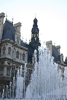 Fountains at Hotel de Ville Paris France<br />