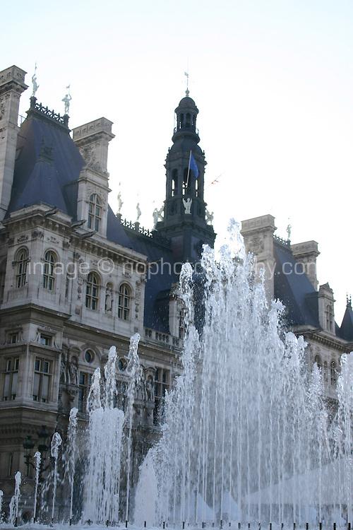 Fountains at Hotel de Ville Paris France<br />