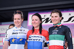 Top three on the stage: Annemiek van Vleuten, Anna van der Breggen & Elisa Longo Borghini on Stage 5 of the Giro Rosa - a 12.7 km individual time trial, starting and finishing in Sant'Elpido A Mare on July 4, 2017, in Fermo, Italy. (Photo by Sean Robinson/Velofocus.com)
