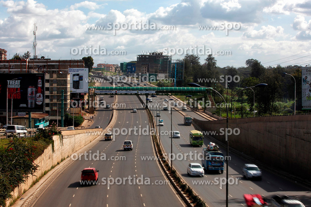 Photo taken on May 1, 2014 shows the Nairobi-Thika Superhighway in Nairobi, capital of Kenya. Constructed at a cost of 360 million dollars, the 51-km-long road was completed in 2012 by three Chinese companies. EXPA Pictures &copy; 2015, PhotoCredit: EXPA/ Photoshot/ Xinhua<br /> <br /> *****ATTENTION - for AUT, SLO, CRO, SRB, BIH, MAZ only*****