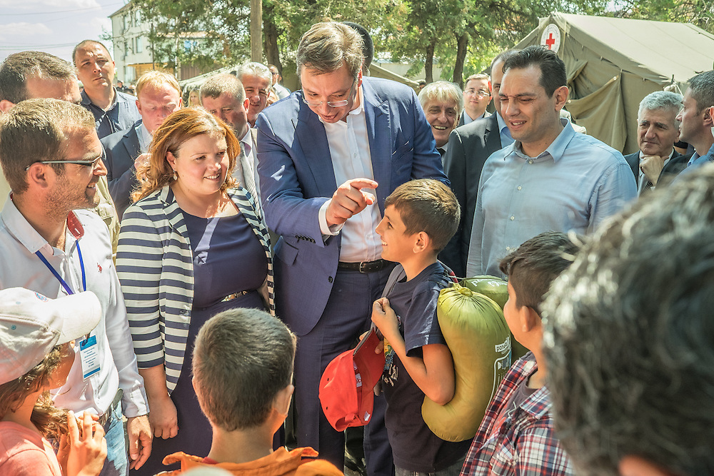 Serbian Prime Minister, Aleksandar Vucic, visits Syrian refugees at the Commission of Refugee and Immigration intake and registration center at Presevo, Serbia.
