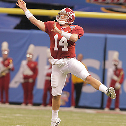 2 January 2009: Alabama quarterback John Parker Wilson (14) throws a pass during the 75th annual All State Sugar Bowl  between the Utah Utes and the Alabama Crimson Tide at the Louisiana Superdome in New Orleans, LA.