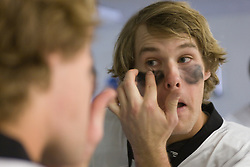 18 May 2008: Duke Blue Devils midfielder Brad Ross (10) put on eyeblack before a 21-10 win over the Ohio State Buckeyes during the NCAA quarterfinals held at Cornell University in Ithaca, NY.