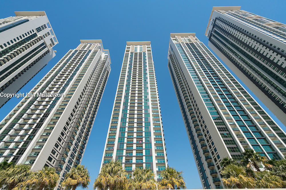 High rise apartment towers at new Marina Square residential and retail development on Al Reem Island in Abu Dhabi United Arab Emirates