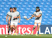 Victor Matfield passes the ball during the South Africa Captain's Run training session in preparation for the Rugby World Cup at the American Express Community Stadium, Brighton and Hove, England on 18 September 2015.