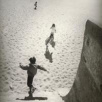 children at Ocean Beach seawall, San Francisco, California