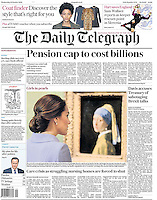Daily Telegraph Page One: The Duchess of Cambridge views Vermeer's &quot;The Girl with a Pearl Earring&quot; as she visits the Mauritshuis in The Hague for the exhibition 'At Home in Holland: Vermeer and his Contemporaries from the British Royal Collection' in The Hague, Netherlands, on the 11th October 2016.<br />