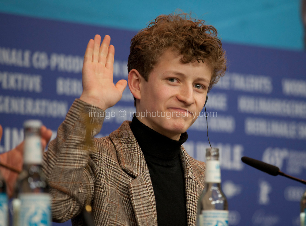 Actor Jon Ranes at the press conference for the film Out Stealing Horses (Ut Og Stjæle Hester) at the 69th Berlinale International Film Festival, on Saturday 9th February 2019, Hotel Grand Hyatt, Berlin, Germany.